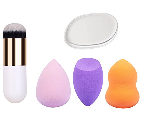 Store2508 Combined Deal of Makeup Brush, Silicone Beauty Blender & 3 Pcs Sponge blenders