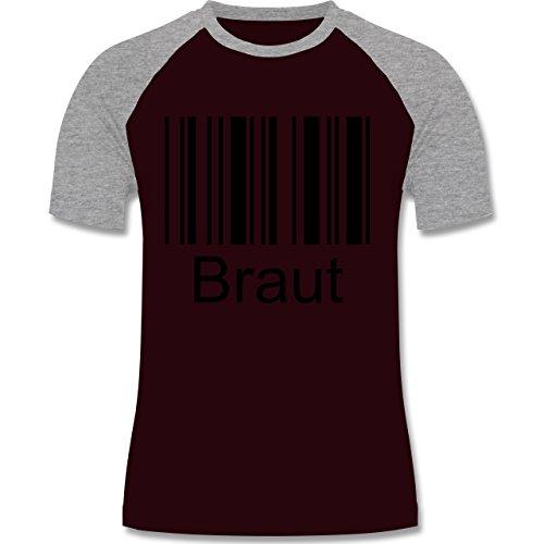 Hochzeit - Braut - Barcode - zweifarbiges Baseballshirt für Männer Burgundrot/Grau meliert