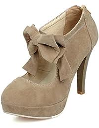 Minetom Mujer Zapatos De Tacón Gamuza Bowknot Plataforma Tacón Alto Cremallera Stiletto Boda Mary Jane Shoes Tacones Con Plataforma