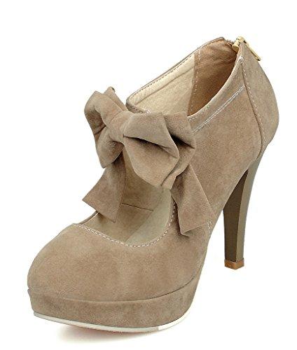 Minetom donna scarpe col tacco vintage stiletto platform pumps stivaletti festa nuziale scarpe da sposa con bowknot cammello eu 41