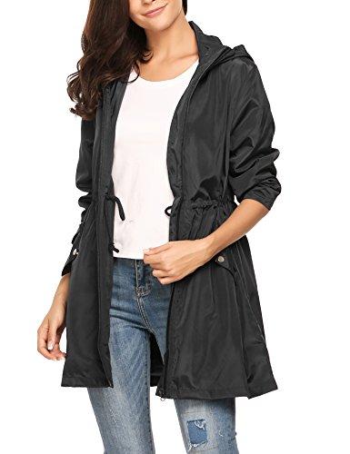 Meaneor Damen Regenjacke Regenmantel mit Kapuze Tasche Funktionsjacke Regenparka Wasserdicht Atmungsaktiv Schwarz