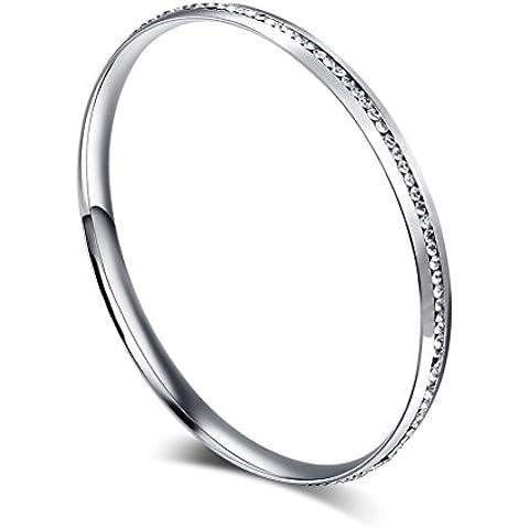 Vnox della ragazza delle donne in acciaio inox sottile BRACCIALI cristallo del cerchio rotondo,22 centimetri d'argento