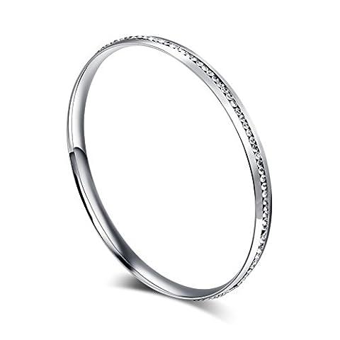 Womens Stainless Steel Bangle Bracelet Rhinestone Crystal Circle Round,Silver,Width 6mm,8.7