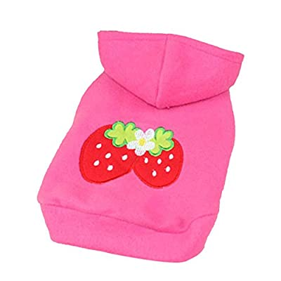 ROPALIA Puppy Pet Dog Cat Strawberry Hoodie Clothes Coat Outfit