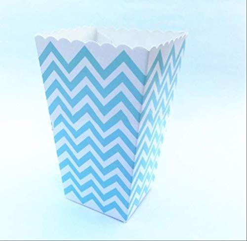 ZMDA Geschenktüte, 12 Stück, Pink/Blau gestreift, Wellen-Design, aus Papier, Popcornboxen, für Geburtstage, Partys, Dekorationen 12pcs blue wave 6pcs