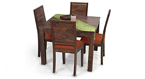 Urban Ladder Arabia Square - Oribi Four Seater Solid Wood Dining Table Set (Teak Finish Finish, Burnt Orange)
