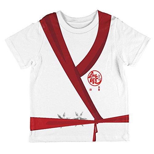 Halloween White Shadow Ninja-Kostüm auf der Ganzen Kleinkind T Shirt Multi 2 t