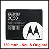Original & Neu -Motorola BC-50 / BC50, Li-Ion (750 mAh) für C257 / KRZR K1 / L2 / L6 / SLVR L6 / RAZR maxx / RAZR V3xx / RIZR Z3 / SLVR L7 V3x / V1150 / Rizr Z3 / Rokr Z6
