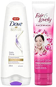 Dove Daily Shine Conditioner, 180ml & Fair & Lovely Fairness Face Wash, 100g
