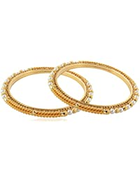Allure International Gold Metal Bangle Set For Women, Set Of 2