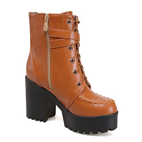 YE Damen High Heels Plateau Stiefeletten mit Schnallen Blockabsatz  Schnürung Short Ankle Boos Herbst Winter Schuhe ...