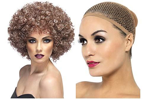 Fancy Dress World 42037 Afro-Perücke, für Herren, Damen, 60er / 70er Jahre, Blond / Braun
