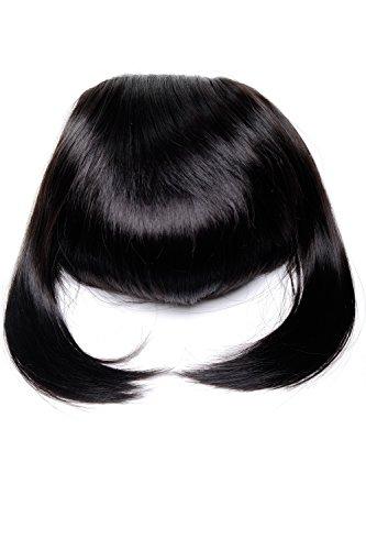 WIG ME UP ® - Frange clip-in, extension, avec mèches côté, très longue (30 cm) = style individuel, brun foncé TYL3061-3