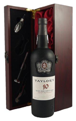 Taylor's 10 year old Tawny Port 75CL in Weinschatulle ,Satin ausgekleidet ,mit vier Wein Accessoires...