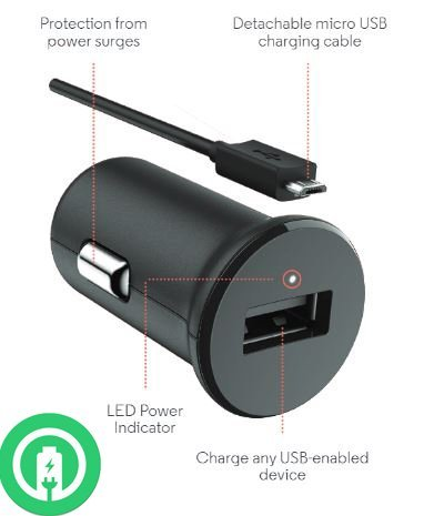 Turbo Power 15W BlackBerry Classic Car Charger with Detachable Hi-Power MicroUSB Cable!