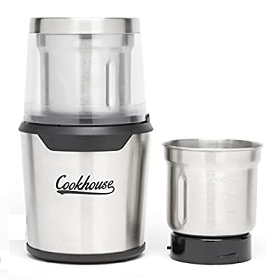 (Upgraded) 300 Watt Electric Coffee & Spice Grinder By Cookhouse: Professional Precision Blender For Grinding/Chopping With 2 Removable 80g Stainless Steel Bowls & Wet/Dry Function-Easy Push-Down Operation & Cleaning from Cookhouse