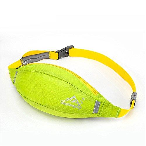 Wewod 600 D Nylon Wasserdicht Gürteltasche/Sport Hüfttasche-Exklusive Öffnung für Kopfhörer-Reflexstreifen für Nachtsichtbarkeit-zum Laufen und Reisen Entwickelt (Grau) Hellgr¨¹n
