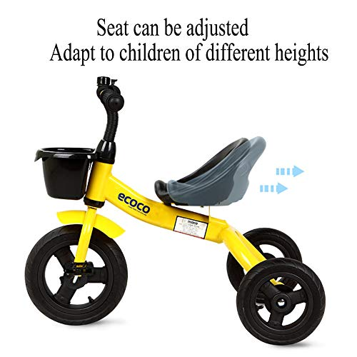GSDZSY - Kids Tricycle 3 Wheel Bike,Rollover Prevention Design, Rubber Wheel (non-inflated),Adjustable Seat, With Steering Limiter,1.5-5 Years Old,C  GSDZSY