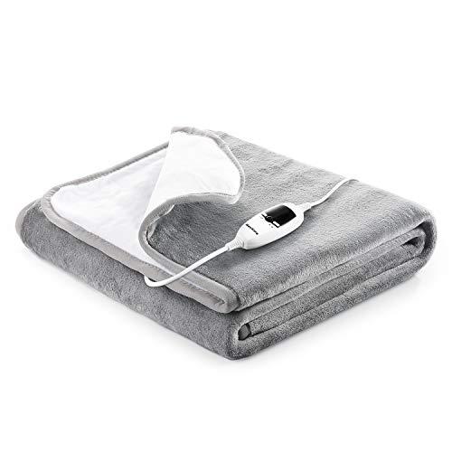 Heizdecken fürs Bett mit Abschaltautomatik(10h) Überhitzungsschutz, 150x80cm Flanell Wärmeunterbett mit 7 Temperaturstufe Elektrische, Waschbar