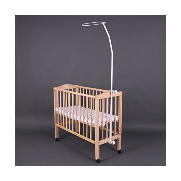 Bed side cot 90x40cm BambinoWorld Bambino World For more relaxed nights with more sleep!Your baby is sleeping close by you - you don´t have to get up to calm or to nurse her during the night. Main features:3 possible uses:Bed side cot (3 sides closed),Cot bed (4 sides closed),Child sofa;High quality pinewood;Height-adjustable duckboards. Bed side cot with large lying space 90 x 40 or 90 x 55cm (if you use the included additional board);Made of high-quality pinewood, clear-varnished with saliva-resistant toy´s paint with a high proportion of wax;Special design for babies without sharp edges or corners; 1