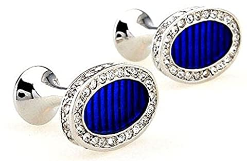 Stunning men's vintage cufflinks 925 Silver Plated with Blue Sapphire Crystal - Blu Placcato Gemelli