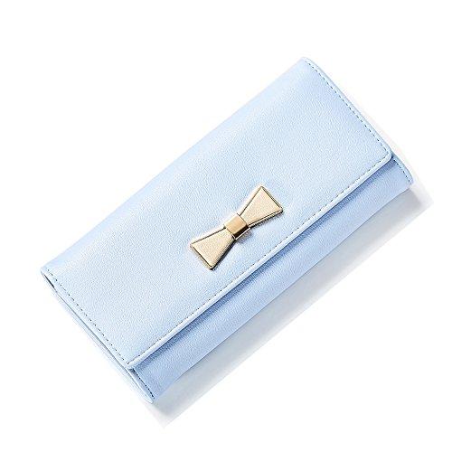 Portafoglio Donna - Borse in pelle di Cuoio delle Donne in PU borse Portafoglio Portafoglio Lungo in Lana Frizione (Blu) Blu