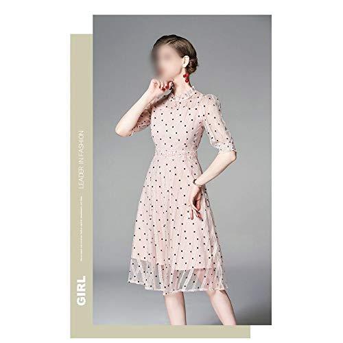 Bademode Langes, schmales Kleid Süßes, gepunktetes Mesh-Kleid Bikinis (Farbe : Rosa, Size : 2XL) -