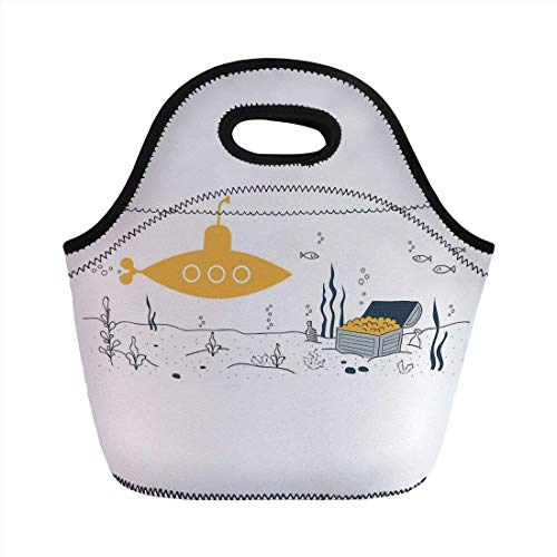 Portable Bento Lunch Bag,Yellow Submarine Decor,Submarine Fish and a Treasure Chest on The Sea Bottom Print,White Earth Yellow,for Kids Adult Thermal Insulated Tote Bags