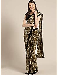 Womanista Crepe with Blouse Piece Saree (FSP771_Beige & Brown_OneSize)