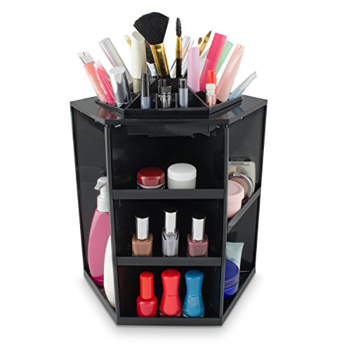 Kosmetik Organizer Drehbar - Schwarz 32 x 27 x 27 cm - Kosmetikständer Make-up Aufbewahrung &...