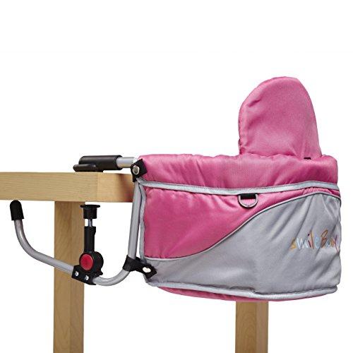 Smilebaby Babysitz Tischsitz faltbar für zu Hause und unterwegs in Pink Grau