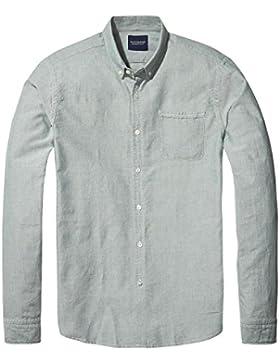 Scotch & Soda Ams Blauw Classic Denim Inspired Slim Fit Oxford Shirt in Se, Maglia a Maniche Lunghe Uomo