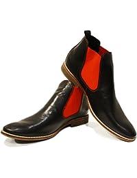 9094e70eaa6de4 PeppeShoes Modello Lamano - Handgemachtes Italienisch Leder Herren Rot  Stiefeletten Chelsea Stiefel - Rindsleder…