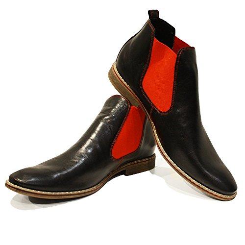 PeppeShoes Modello Lamano - 43 EU - Handgemachtes Italienisch Leder Herren Rot Stiefeletten Chelsea Stiefel - Rindsleder Weiches Leder - Schlüpfen - Herren Italienische Schuhe Stiefel