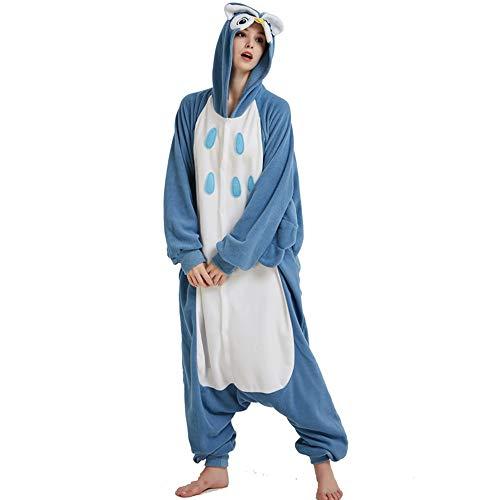 DUKUNKUN Cosplay Owl Kostüm Für Erwachsene Blau Damen Pyjama Winter Nachtwäsche Halloween Pyjama Cartoon Party,M