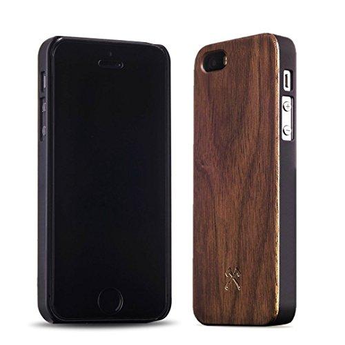 Woodcessories - EcoCase Classic - Premium Design Case, Cover, Hülle für das iPhone aus FSC zert. Holz (iPhone 5/ 5s/ SE, Walnuss/ schwarz) -