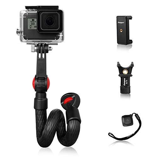 Fotopro Flexibles GoPro Griff Handgriff, Flex Klemme Gopro Gooseneck Selfie Stick Schwanenhals Monopod Pole für Action Cam, Handy wie GoPro, iPhone Samsung Galaxy, Huawei