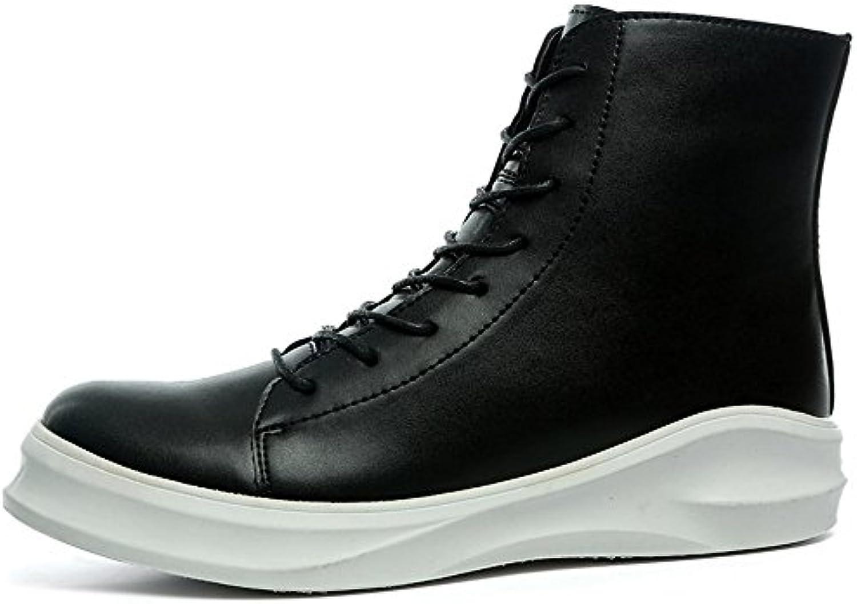 Yajie-scarpe store, Stivali da uomo Punta tonda Tacco piatto piatto piatto Morbido PU in pelle tinta unita cerniera laterale...   Stravagante  118a9c