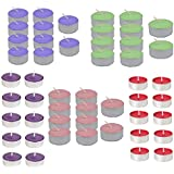 Kala Decorators 50 Pcs Total Quality Red, Purple, Pink,Green,Blue Smokeless Color Tea Light Candle For Party,Home Candle