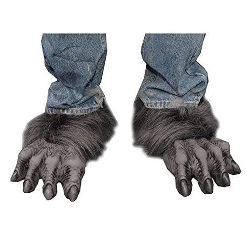 Füße Wolf Kostüm - Horror-Shop Werwolf Biest Füße Schwarz/Grau als Kostümzubehör