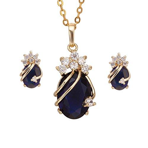 Yazilind Frauen 18K Gold überzogenes Blau-Charme-Ketten-Anhänger-Halsketten -Bolzen-Schmuck-Set für Hochzeit