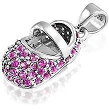 Bling Jewelry Plata Esterlina CZ Bow bebé colgante de zapata 1z57PhzhY