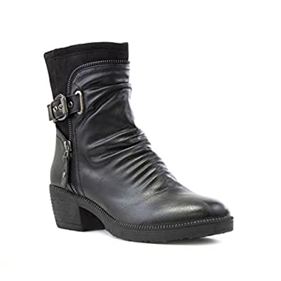 Cushion Walk Rouched Ankle Boot in Black - Size 3 UK - Black