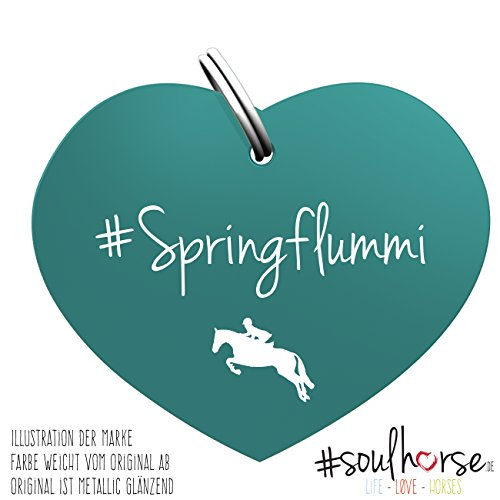 Pferde Glücksmarke #Springflummi in türkis – Gücksbringer - Soulhorse Anhänger Halfter, Trense, Zaumzeug, Sattel, Vorderzeug