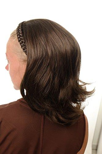 WIG ME UP - DW1026-8 Halbperücke Haarteil edel mit geflochtenem Haarreif schulterlang glatt leicht gewellt braun