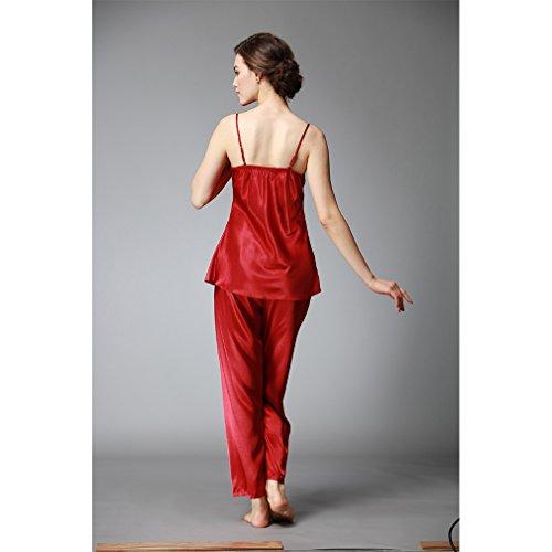 BOYANN Raso Vestaglie e Kimono Pigiami e Camicie da Notte Allattamento Donna Accappatoi Rosso