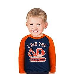 NCAA Illinois Illini Boys Toddler Digger Raglan, 3 Tall, Navy