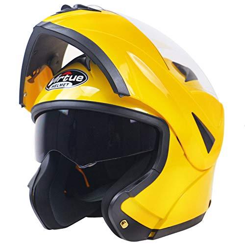 WLJBY Motorrad-Antibeschlag Doppelter Lensflip DOT & ECE-zertifizierter modularer Helm Full/Open Face Motorradhelm Erwachsene Männer und Frauen Allgemein,L