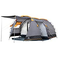 CampFeuer® - Tunnel Tent, 410 x 260 x 150 cm, 4 Person, Orange / Grey / Black