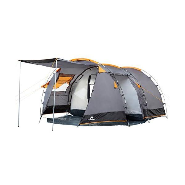 CampFeuer - Tunnel Tent, 410 x 260 x 150 cm, 4 Person, Orange / Grey / Black 1